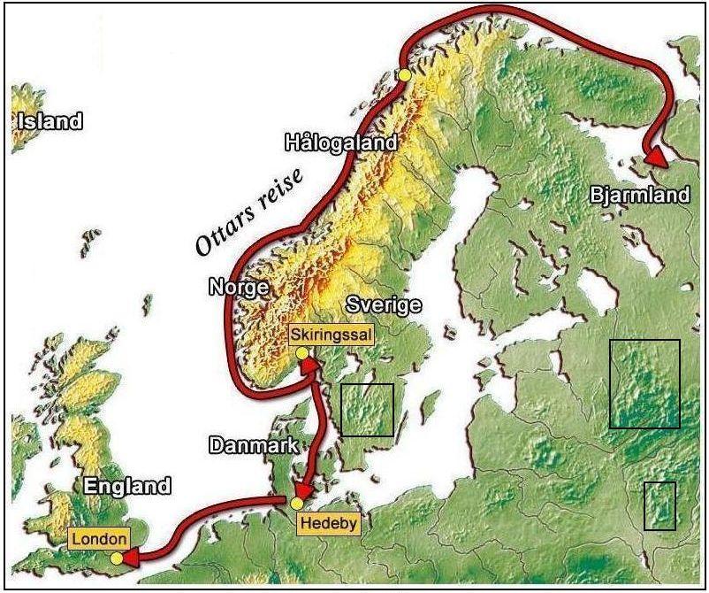 Карта путешествия Оттара из